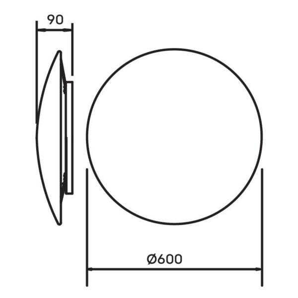 Desenho técnico arandela pleine lune 342LED Newline