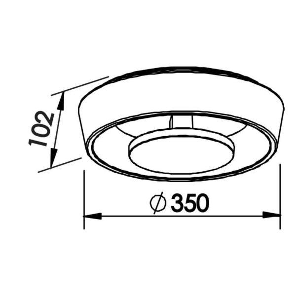 Desenho técnico plafon 450LED Newline