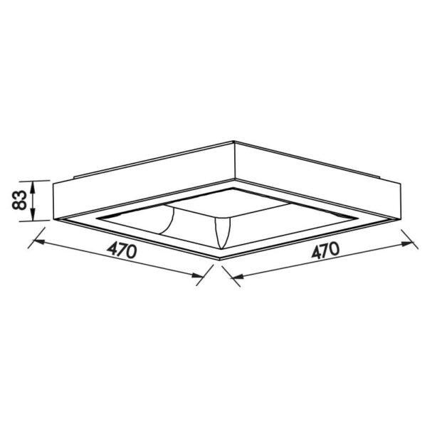 Desenho técnico plafon 482LED Newline