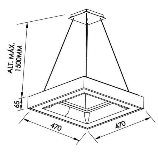 Desenho técnico pendente 486LED Newline