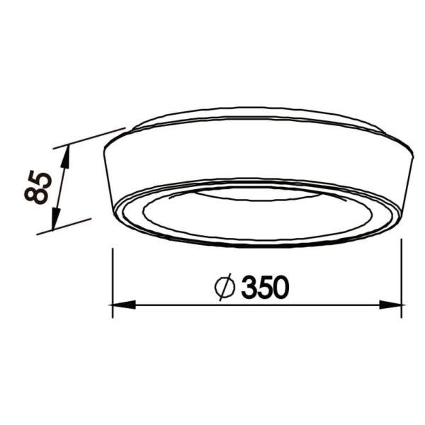 Desenho técnico plafon 580LED Newline