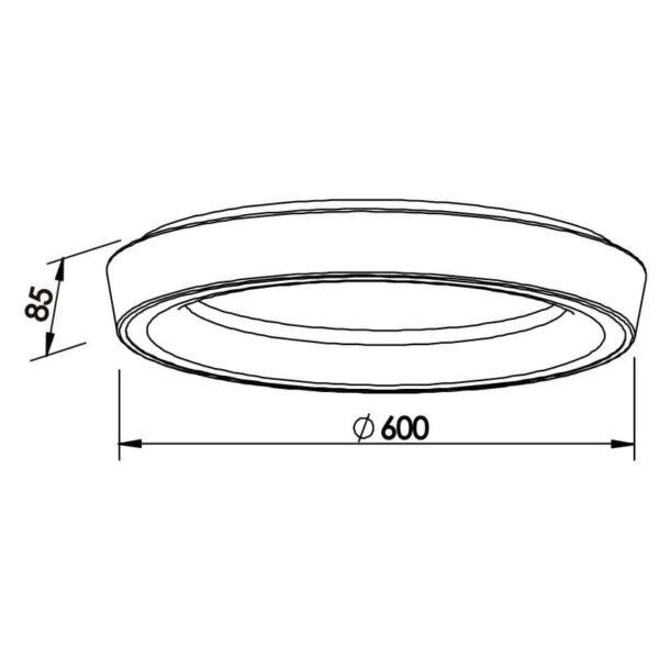 Desenho técnico plafon 582LED Newline