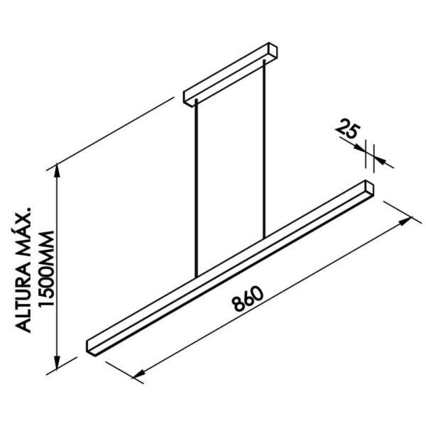 Desenho técnico pendente 636LED Newline