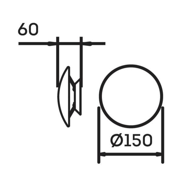 Desenho técnico arandela pleine lune IN40021 Newline