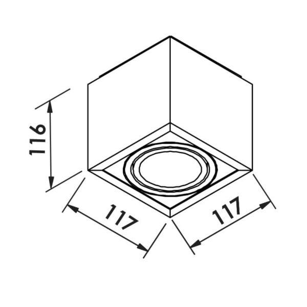 Desenho técnico plafon box IN40131 Newline