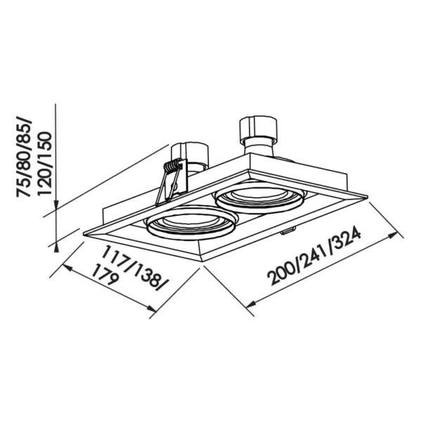 Desenho técnico embutido IN50332 Newline