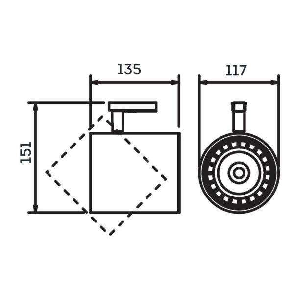 Desenho técnico Spot para trilho IN50955 Newline