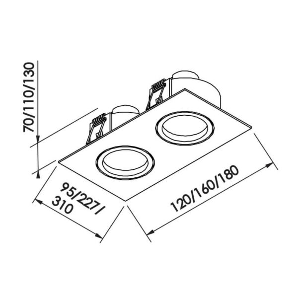 Desenho técnico embutido IN55522 Newline