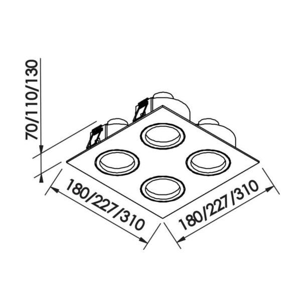 Desenho técnico embutido IN55564 Newline
