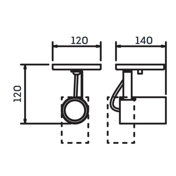 Desenho técnico Spot Sobrepor IN55625 Newline