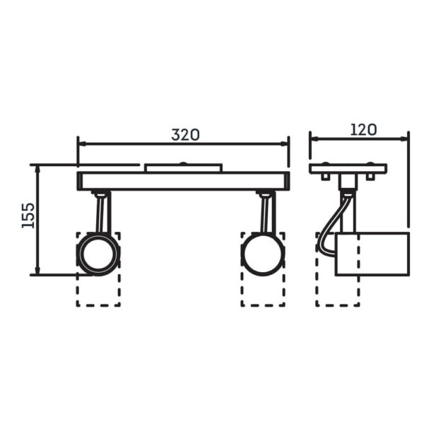 Desenho técnico Spot Sobrepor IN55626 Newline