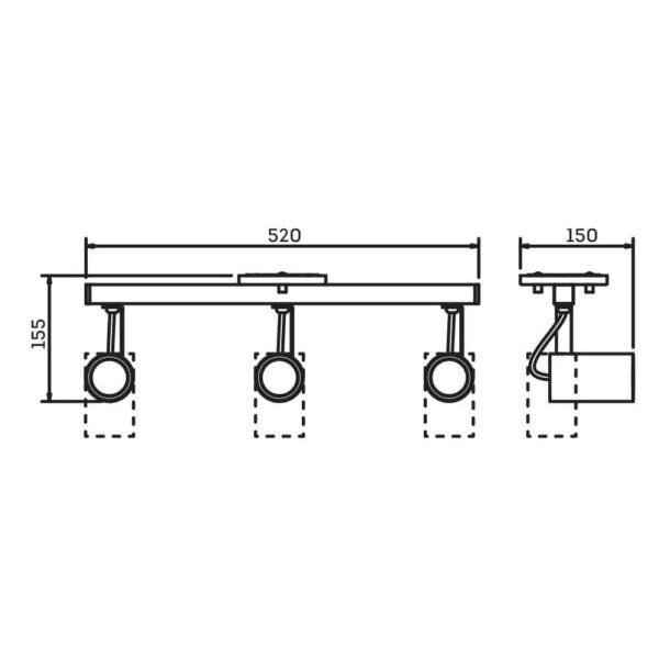 Desenho técnico Spot Sobrepor IN55627 Newline