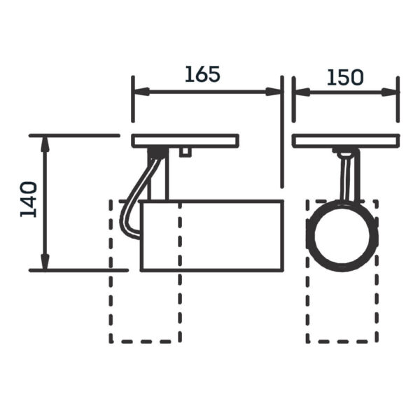 Desenho técnico Spot Sobrepor IN55635 Newline