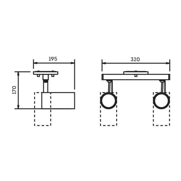 Desenho técnico Spot Sobrepor IN55636 Newline