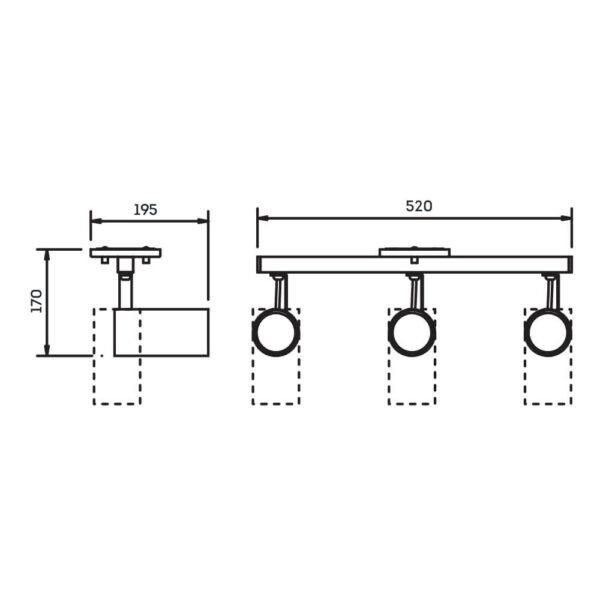 Desenho técnico Spot Sobrepor IN55637 Newline