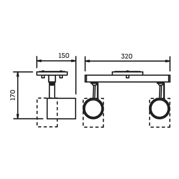 Desenho técnico Spot Sobrepor IN55646 Newline