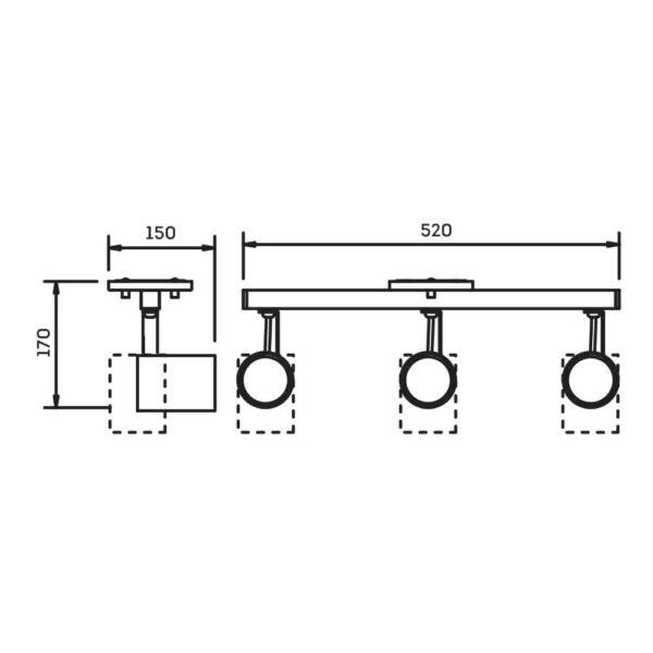Desenho técnico Spot Sobrepor IN55647 Newline