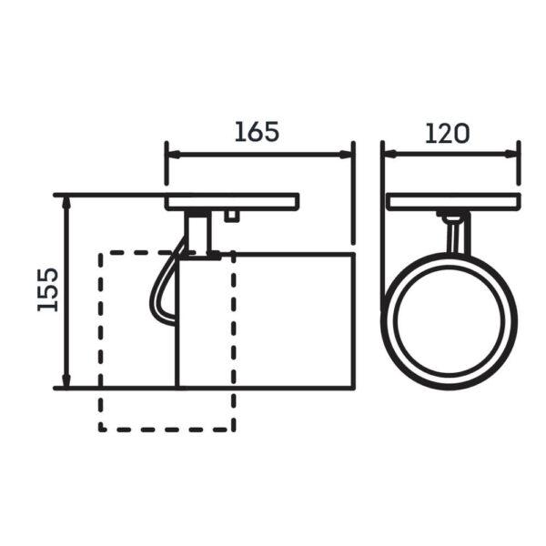 Desenho técnico Spot Sobrepor IN55665 Newline