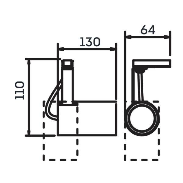 Desenho técnico Spot par trilho IN55925 Newline