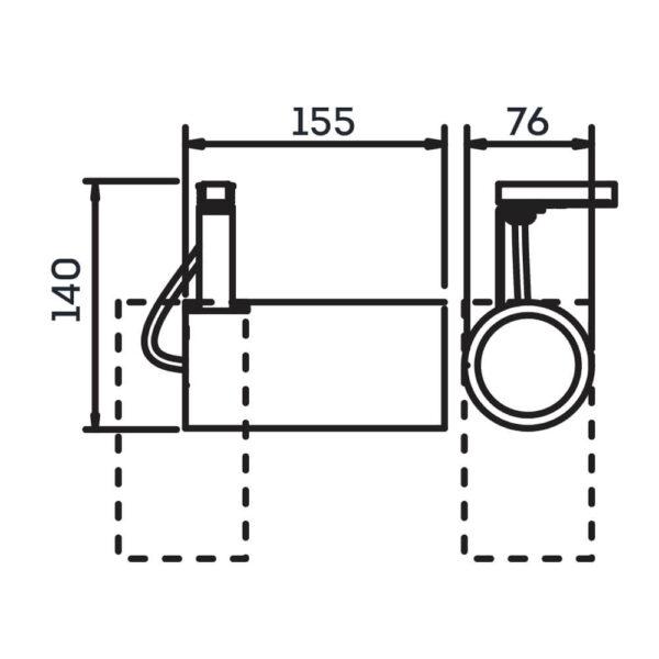 Desenho técnico Spot par trilho IN55935 Newline