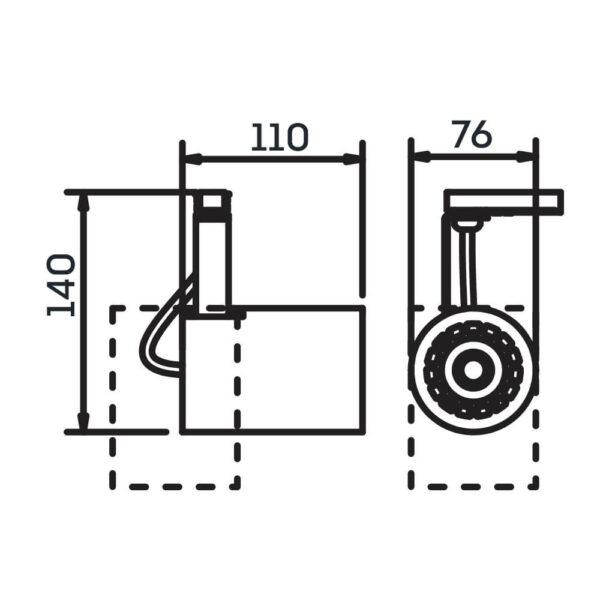Desenho técnico Spot par trilho IN55945 Newline