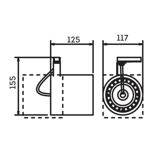 Desenho técnico Spot par trilho IN55955 Newline