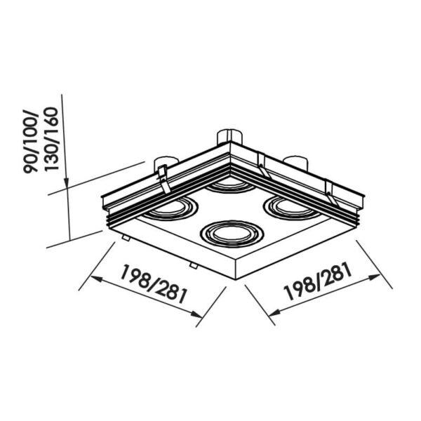 Desenho técnico embutido IN60334 Newline