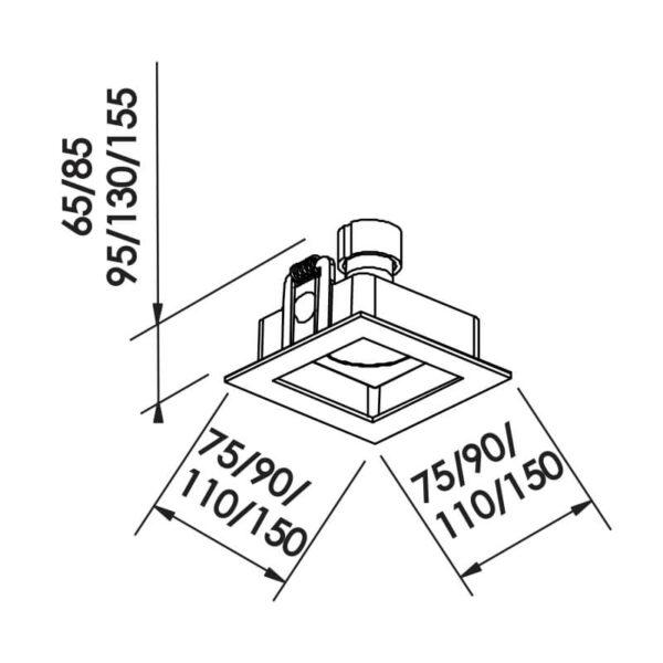 Desenho técnico embutido IN65002 Newline