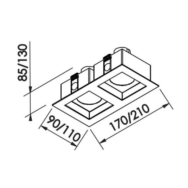 Desenho técnico embutido IN65022 Newline