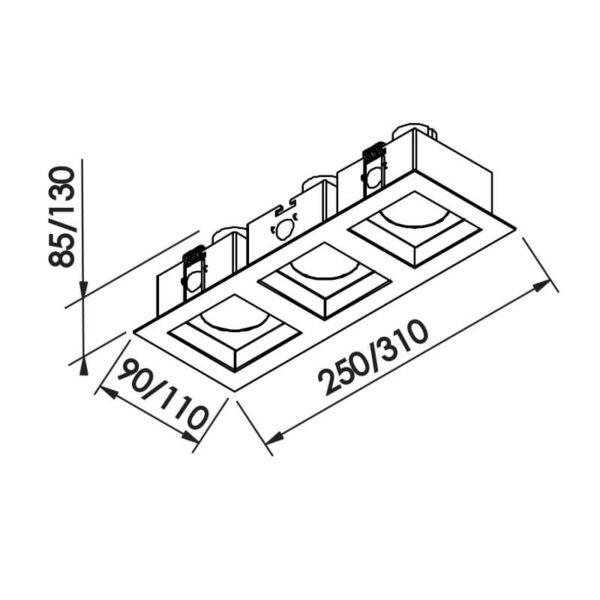 Desenho técnico embutido IN65032 Newline
